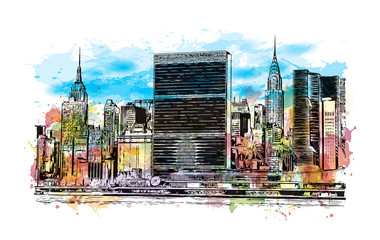 Watercolor splash with hand drawn sketch of New York City Skyline, USA in vector illustration.