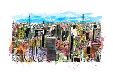 Watercolor splash with hand drawn sketch of New York City, USA in vector illustration.