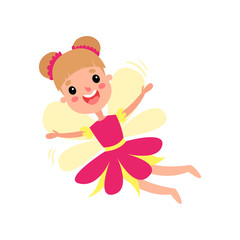 Cute happy fairy in pink dress with wings flying cartoon vector Illustration