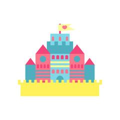 Colorful princess castle cartoon vector Illustration