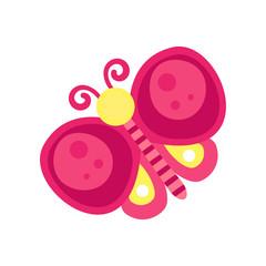 Pink butterfly cartoon vector Illustration