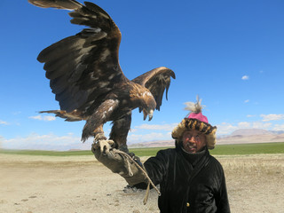 Traditional kazkh eagle hunter