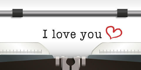 I love you, amour - amoureux - romantique -message - St Valentin - aimer - concept - cœur -machine à écrire