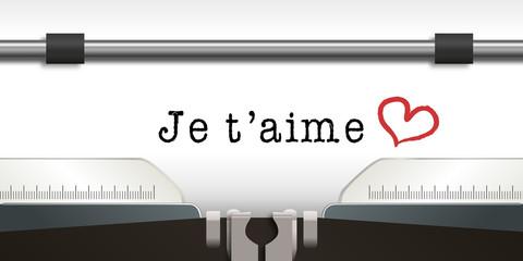 je t'aime - amour - amoureux - romantique - message - St Valentin - aimer - concept - cœur - machine à écrire