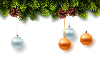 Christmas decoration with fir branches and cones on white background