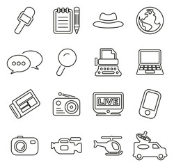 Journalist or Reporter Icons Thin Line Vector Illustration Set