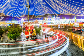 Fotomurales - Sibiu, Transylvania, Romania, Christmas Market