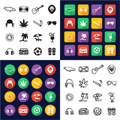 Jamaica All in One Icons Black & White Color Flat Design Freehand Set