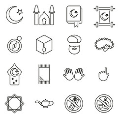 Islamic Religion & Culture Icons Thin Line Vector Illustration Set