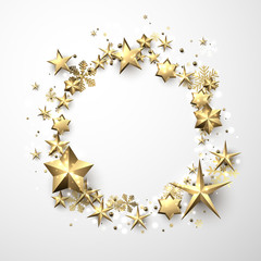 Round winter background with stars and snowflakes.