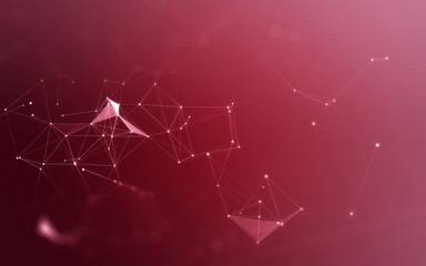 3D Abstract Polygonal Red Background with Low Poly Connecting Dots and Lines - Connection Structure - Futuristic HUD Background