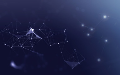 3D Abstract Polygonal Blue Background with Low Poly Connecting Dots and Lines - Connection Structure - Futuristic HUD Background