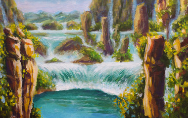 Painting High yellow mountains in China, beautiful turquoise waterfalls, beautiful nature, dreams, mountain landscape, big waterfall, background, illustration, postcard. Modern impressionism artwork