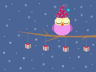 Cute merry christmas owl sleeping in a tree