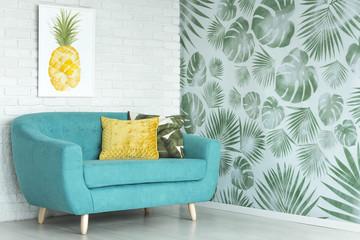 Pineapple poster in living room