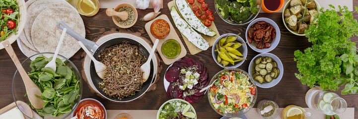Healthy vegetarian dishes close-up