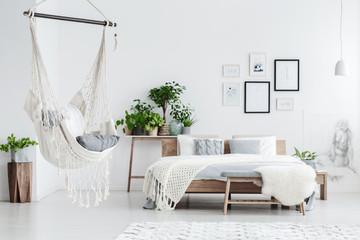 Hammock hanging in bedroom