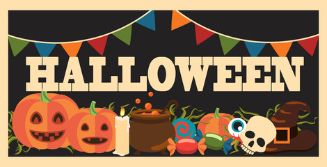 Halloween Promotional Poster Vector Illustration