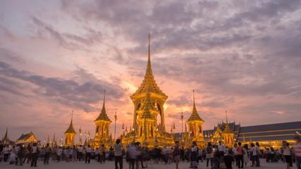 The Royal Crematorium Replica for King Bhumibol Adulyadej (Pra May Ru Maat) at Sanam Luang for royal funeral Cremation Ceremony 15 November 2017 Bangkok Thailand.