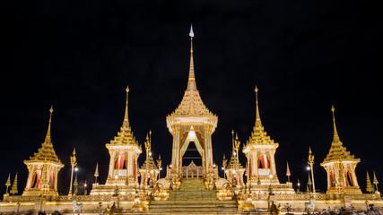 The Royal Crematorium Replica for King Bhumibol Adulyadej (Pra May Ru Maat) at Sanam Luang for royal funeral Cremation Ceremony Bangkok Thailand.