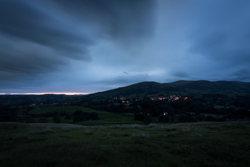 Town of Sedbergh at twilight from the hills, England