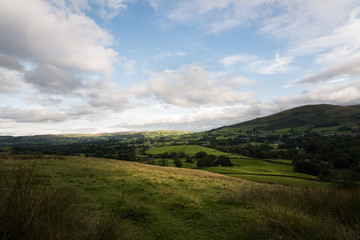 Green countryside of England around Sedbergh town