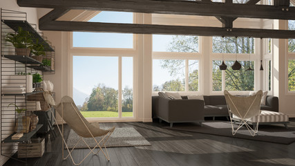 Living room of luxury eco house, parquet floor and wooden roof trusses, panoramic window on summer spring meadow, modern white and gray interior design