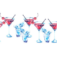 Seamless linear pattern with a pattern -  Alcohol cocktail, whiskey, water splash. Illustration on white background for your design.