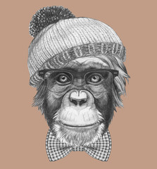 Portrait of Hipster Monkey with glasses, bow tie and hat. Hand-drawn illustration.