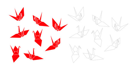 紅白の折り鶴