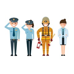 Police firefighter and doctor in cartoon style Isolated on white background.