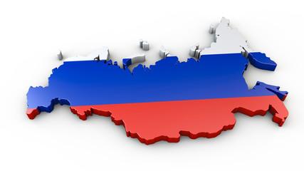 Russland - 3D Karte oder Umriss