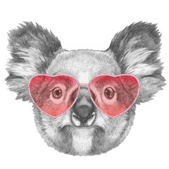 Koala in Love! Portrait of Koala with sunglasses, hand-drawn illustration