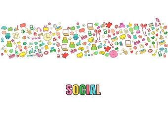 Social network background with media icons hand lettering and doodles elements background. Vector illustration