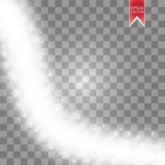 Wave stars and snowflakes trail effect on transparent background. Abstract light painting vector Illustration.