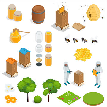 Honey and beekeeping isometric design elements. Apiary, honey, beekeeper, hives, bees, equipment, flowers. For eco products of beekeeping, cosmetics medicine