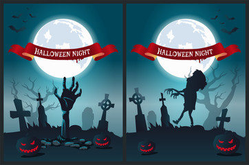 Halloween Night Poster Vector Illustration