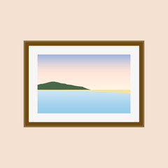 Picture on the wall with sea, mountains, bitch and sky. Vector illustration in flat style.