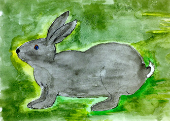 Rabbit. Child watercolour hand drawing.