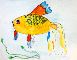 Fish. Watercolour hand drawing.