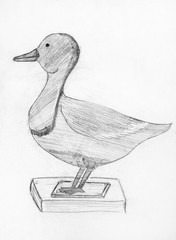 Pencil drawing of stuffed duck.