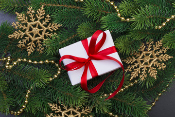 Gift box and christmas tree branches