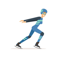 Girl athlete taking part in speed skating competition. Winter olympic sport. Woman in professional outfit glasses, overalls, helmet and clap skate. Isolated flat vector