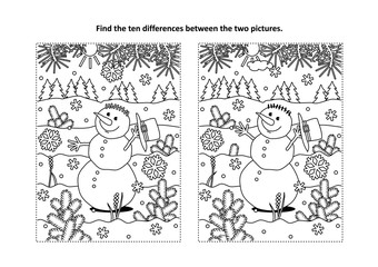 Winter holidays, New Year or Christmas themed find the ten differences picture puzzle and coloring page with happy cheerful snowman walking outdoor.