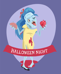 Halloween Night Lady Zombie Vector Illustration