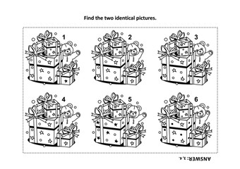 IQ training find the two identical pictures with presents and teddy bear visual puzzle and coloring page. Answer included.