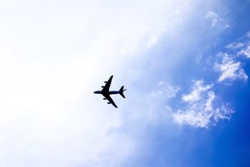 plane in the bright sky