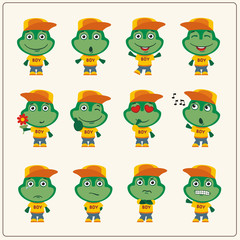 Collection of isolated frog in clothes and cap. Set of frog little boy in cartoon style.