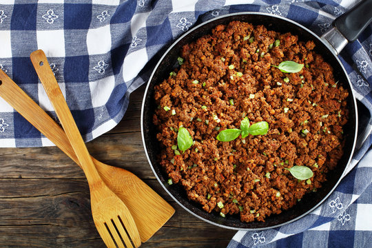 bolognese sauce in skillet, top view