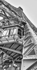 Internal metallic structure of Eiffel Tower in Paris - France